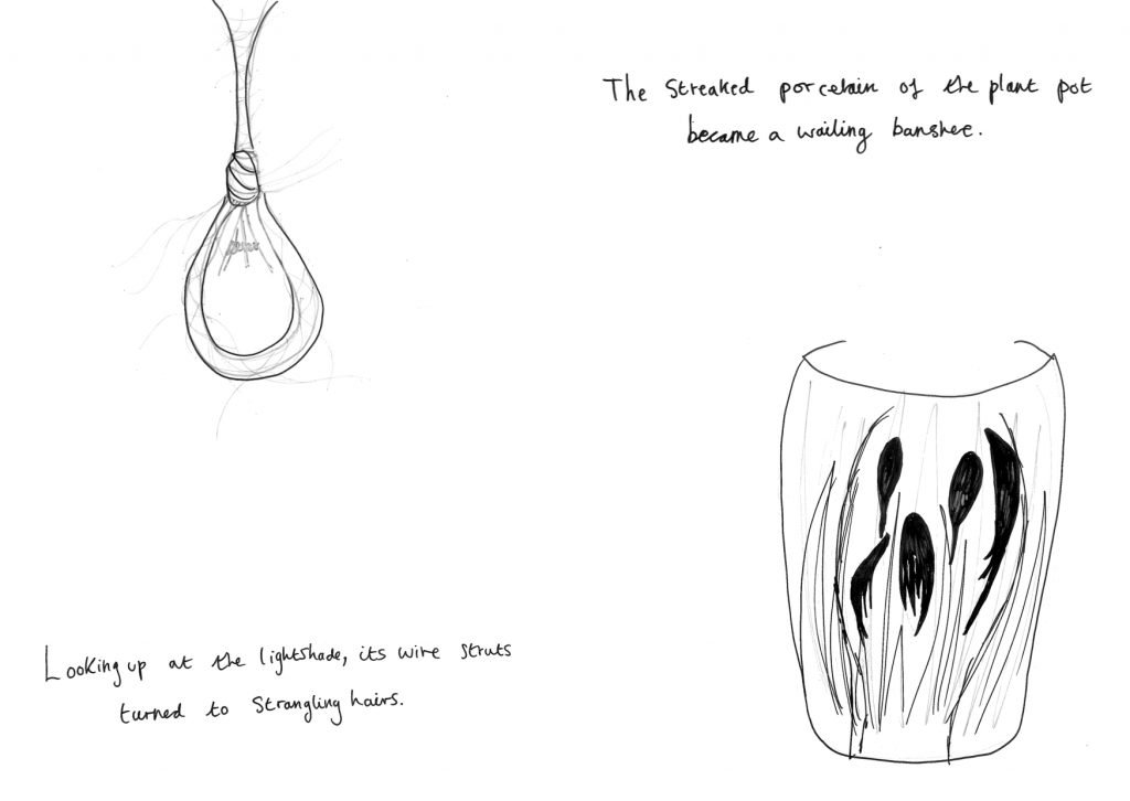 ID1: drawing of what looks like a noose with hairs coming from it. Text reads: Looking up at the lightshade, its wire struts turned to strangling hairs.  ID2: Drawing of a plant pot with the face of a wailing banshee. Text reads: The streaked porcelain of the plant pot became a wailing banshee.