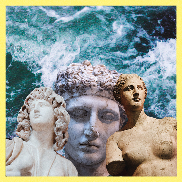 collage of three ancient sculptures on top of an image of blue waves, with a light yellow border.