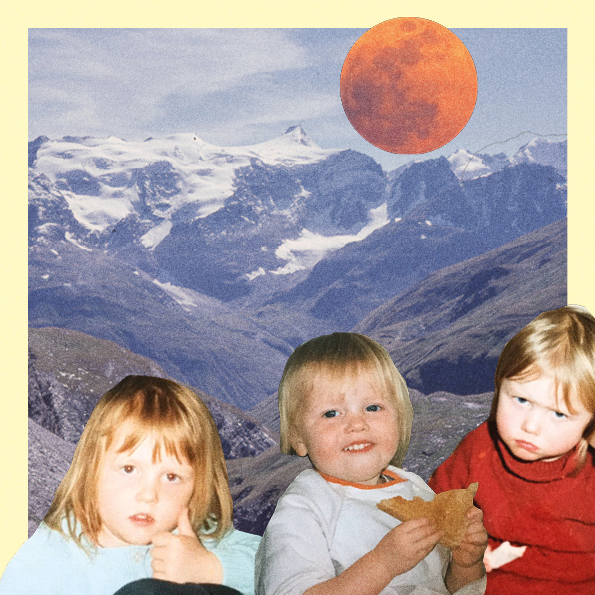 Collage of three baby photos of the author, in front of a mountain landscape, with an orange moon at the top.