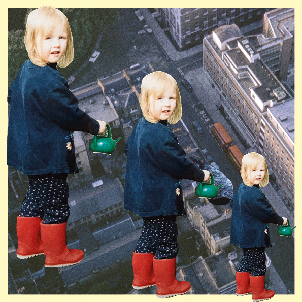 Collage of three of the same baby photo of the author, layered on top of aerial view of a city.