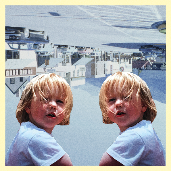 Collage of two baby photos of the author, in front of upside down photograph of a town street.