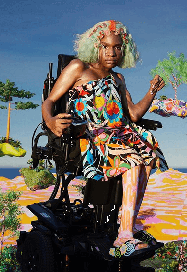 ID: Model Aaron Philip sits in a wheelchair, wearing a jaw-length sea-green wig with styled red strands. They wear a one-shouldered patterned dress that falls on the knee, with pink and orange patterned tights and embroidered black platform sandals. The background is a digitally manipulated beachscape with patterned sand and floating trees. Image courtesy of Collina Strada via instagram.com/p/CFuNRA0AZ5J/?igshid=18axfvm1ued5